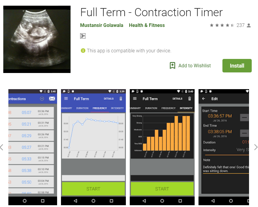 Perfect Contractions Timer during Labor Onset